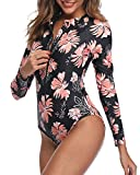 Daci Women Pink Floral Rash Guard Long Sleeve One Piece Swimsuit Zipper Surfing Bathing Suit UPF 50 L