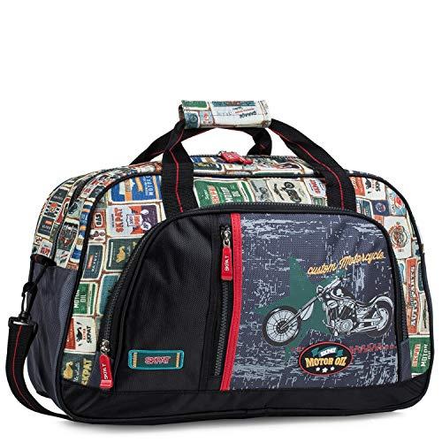 SKPAT - Bolsa Infantil de Deporte de Lona Estampada Moto. asa y Bandolera. Cinta para Trolley. para Colegio Viaje Gimnasio, cómoda Amplia y Calidad y diseño, 130545, Color Negro