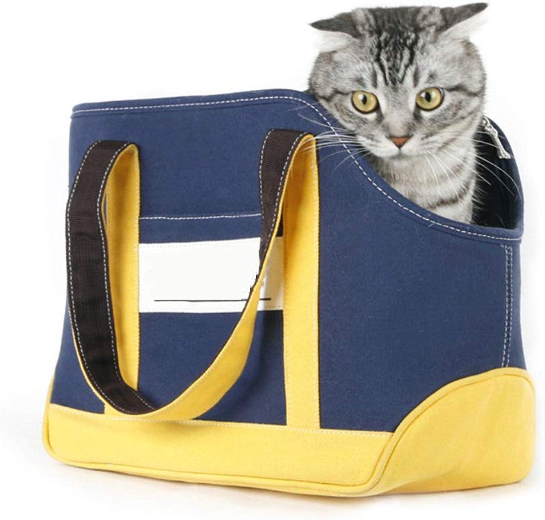 Backpacks Pet Bag Portable Outing Cat Dog Bag bluee Yellow Takeout Bag Bag Handbag Bag Gift (color   bluee, Size   36  17  27cm)
