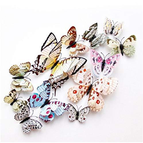 Double Layer Wings 3D Butterfly Wall Sticker Magnet Pvc Butterflies Party Kids Bedroom Fridge Decor Magnetic White