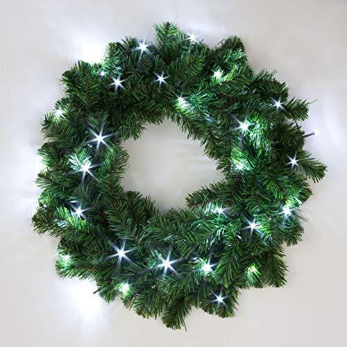 SHATCHI Beleuchteter Weihnachtskranz aus alaskanischem Kiefernholz, 55 cm, für Kamine zu Hause, Wand, Tür, Treppe, grün, künstlicher Weihnachtsbaum, Garten, Hof, Dekorationen mit 30 weißen LEDs