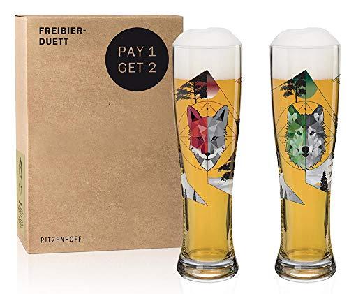 RITZENHOFF Freibier-Duett Set di Bicchieri da Birra di frumento, Vetro