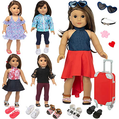 Ecore Fun 17 Pcs American 18 Inch Doll Clothes and Accessories Included 5 Sets Doll Outfits 5 Pairs of Doll Shoes and Doll Travel Luggage Hair Clips Necklace Sunglasses Fit for American Doll