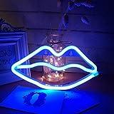Lip Shape Neon Signs LED Kiss Luce al Neon Sign Wall Decor Lights per Baby Girls Room Bar rifornimenti del partito di nozze (blu)