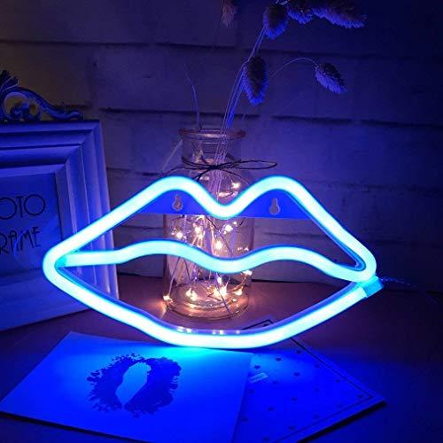 Lippenform Leuchtreklamen LED Kuss Leuchtreklame Licht Wandkunst Dekoration Lichter für Baby Mädchen Room Bar Hochzeit Party Supplies (Blau)