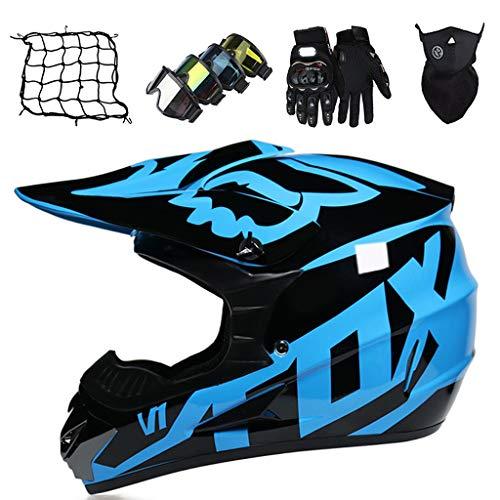 Casco da Motocross Casco Dirt Bike Bambini Casco da Moto Giovani e Adulti Casco da MTB Integrale Casco da Cross Unisex Fuoristrada Quad Bike (Guanti+Occhiali+Maschera+Rete Elastica) - con Design FOX