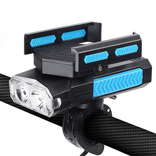 ELT Luz Delantera para Bicicleta Luz Delantera multifunción 5 en 1 con Soporte para teléfono móvil, Carga USB, batería de 4000 MAH, Altavoz de 130 DB, luz Delantera Impermeable para Bicicleta IPX65