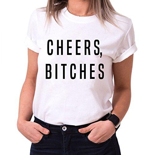 Cheers Bitches Trendiges Damen T-Shirt Girlie Kurzarm Baumwolle mit Druck, Farbe:Weiß;Größe:M