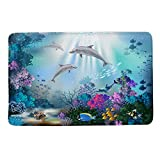 HIYOO Underwater Seabed Coral Dolphins Fish Theme Non Slip Bathmat, Doormat, Bathroom Bath Floor Kitchen Area Door Entrance Rugs Mat, Super Soft Flannel Fabric with Inner Thick Sponge 16' W x 24' L