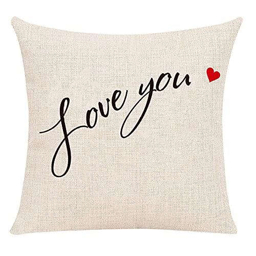 Juego de 2 Fundas de cojín Love You & Heart de Lino de algodón de 45x45 cm para Sala de Estar, Dormitorio, sofá, sillón
