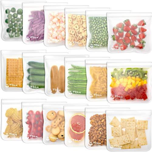 Reusable Food Storage Bags - 18 Pack BPA Free Reusable Sandwich Bag Leak Proof Reusable Freezer Bag...