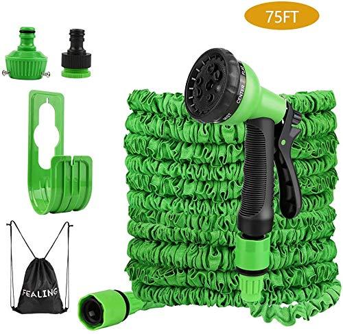 Ovareo Flexibler Gartenschlauch, 22.5m 75 FT Gartenschlauch Flexibel, Flexi Wasserschlauch Dehnbarer mit 8 Funktionen Brause und Schnelladaptern,für Autowäsche, Gartenbewässerung Rasenbewässerung