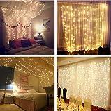Led Lichtervorhang für Weihnachten 300 leds sterne Lichterkette weihnachtsdeko Innen Außen Garten Fenster deko Innenbeleuchtung warmweiß 3x3m - 7