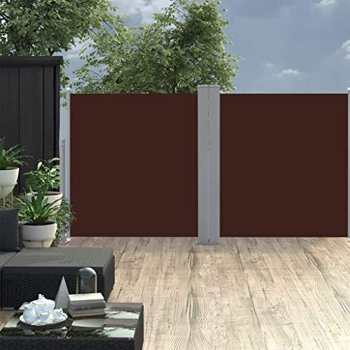 """FMXYMC 236\""""x 71\"""" Doppelseitenmarkise, einziehbare Terrassenmarkise, zusammenklappbarer Sichtschutzzaun, Sichtwand-Wandteiler, Garten-Sonnenschutz-Windschutz, Raumteiler im Innenbereich,Kaffee"""