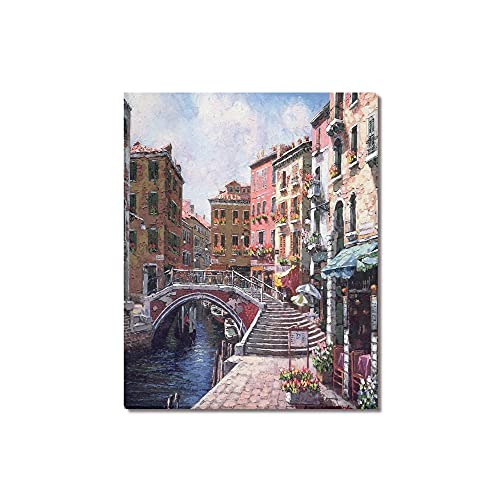 """Beautiful Modern Art Watercolor Painting Rich Retro town of Venice Italy Canvas Print Wall Art 16"""" x 20"""" Inch, Stretched and Framed Artwork Decor Wall Living room Office, Art Abstract City Landscape Watercolor Picture Canvas Wall Art Print"""