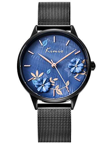 Alienwork Damen-Armbanduhr Quarz schwarz mit Metall Mesh Armband Edelstahl blau Perlmutt-Zifferblatt elegant