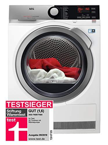 AEG T9DE77685 Wärmepumpentrockner / FiberPro – Trocknen ohne Vorsortieren / 8,0 kg / A+++ / energiesparend / Mengenautomatik / Knitterschutz / Kindersicherung / Schontrommel / Trommelbeleuchtung