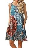 Yidarton Sommerkleider Damen Casual Ärmellos Rundhals Strandkleider Blumen Bedrucktes Trägerkleid Kurz Kleider mit Taschen (Blau-Grün, M)
