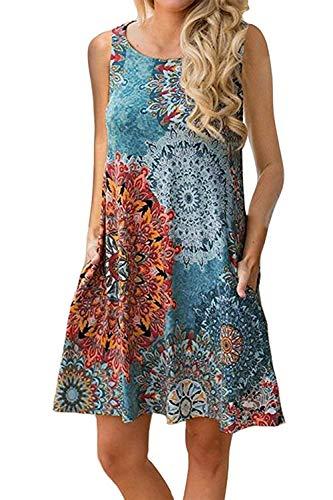 Yidarton Sommerkleider Damen Casual Ärmellos Rundhals Strandkleider Blumen Bedrucktes Trägerkleid Kurz Kleider mit Taschen (Blau-Grün, S)