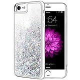 Caka Glitter Case for iPhone 7 8 SE 2020 Case for Women Girls Glitter Bling Shining Liquid Flowing Luxury Sparkle Clear TPU Glitter Case for iPhone 7 8 SE 2020 (4.7 inch) (Silver)