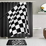 QYUESHANG Duschvorhang Sets mit rutschfesten Teppichen,Schwarz-Weiß-Zielflagge Motorsport-Rennspiel Sport-Thema, Badematte + Duschvorhang mit 12 Haken
