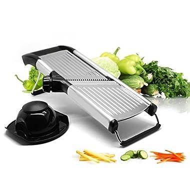Vegetable and Fruit Mandolin Slicer | Stainless Steel Julienne Veggie Cutter | Professional Kitchen Slicing Tool with Adjustable Blades | Hand Guard
