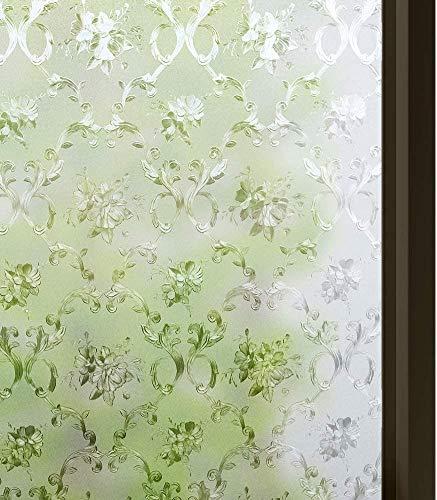 rabbitgoo Fensterfolie Selbsthaftend Klebefolie ohne Klebstoff Anti-UV Sichtschutzfolie Blickdicht Dekorfolie Statisch Fenster Folie für Bad Küche Büro Zuhause 44.5 x 200 cm Blumenmuster