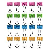 20個入り万能クリップ バインダーダブルクリップ かわいい クリップ 本とチケット挟み 笑顔デザイン
