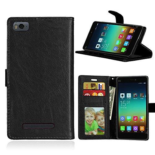 Qiaogle Teléfono Case - Funda de PU Cuero Billetera Clamshell Carcasa Cover para Xiaomi Mi4C / Mi4i (5.0 Pulgadas) - DK02 / Negro Estilo