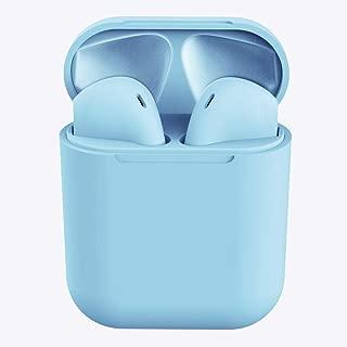 HelloDigi Bluetooth Headphones,InPods 12 Macaron Wireless Bluetooth Headphones Matte Bluetooth Earphones,Intelligent Automatic Connection Wireless Bluetooth Earbuds Sports Bluetooth Headset(Blue)