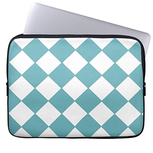 for Teen Girls 13 13.3-13.8 Inch Funny Laptop Case Neoprene Water-Resistant Teal and White Checkerboard Computer Laptop Sleeve Case Bag for Notebook Computer/MacBook Air