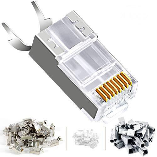 Paquete de 30 conectores RJ45 blindados CAT7 Cat6A Cat7 Ethernet RJ45 Conector Modular Plug con barra de carga y botas RJ45 (gris)