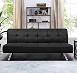 GUNJI Futon Sofa Bed Modern Linen Fabric Upholstered Sofa Bed Folding Collection Convertible Couch Bed for Living Room Home Office Futon Couch with Chrome Legs (Black)