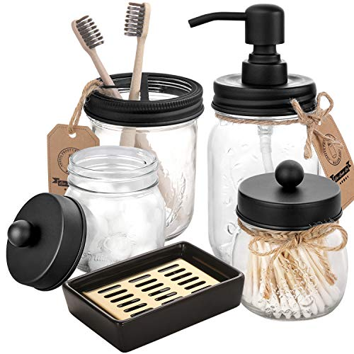 Mason Jar Bathroom Accessories Set 5 Pcs - Mason Jar Soap Dispenser & 2 Apothecary Jars & Toothbrush Holder &Ceramic Drain Soap Dish - Rustic Farmhouse Decor Bathroom Countertop Vanity Organize, Black