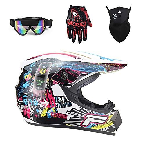 Tadyy Motocross Helmet Adult, Youth DOT Approved Quad Street Dirt Bike Off Road Full Face Motorcycle Crash 4 Wheeler Downhill BMX MX ATV Motorbike MTB for Men Women,White,L