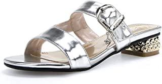 Open Toe Sandals Women's Sandals Summer Slip On Slippers Versatile With Any Outfit And Any Occasion (Color : Silver, Size : 40)