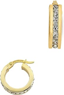 Bevilles 9ct Yellow Gold Silver Infused Crystal Hoop Earrings 10mm