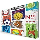 CIKYOWAY Alfombrilla de Ratón Gaming Fútbol Deporte Urbano Resumen Equipo Patrón Pelota Gráfico Atlético Niño Actividad de Juego Insignia Americana Antideslizante para Gamers Oficina