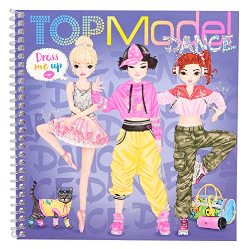 Depesche 11140 Malbuch mit Stickern, TOPModel Dress me up, ca. 18 x 17,5 x 1,2 cm