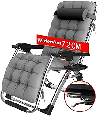 ADHW Recliner,Recliner Chairs Outside,Outdoor Garden Rocking Chair Relaxing Chair,Sun Lounger,with Cup and Phone Holder (Size : Gray)