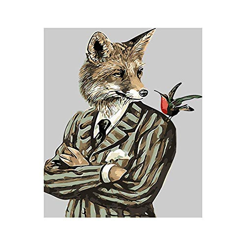 Pintura Digital Personalizada Pintura Por Traje Fox-Home Living Room Office Blanco Navidad Año Nuevo Valentine'S Day Decoración-Frameless_40 * 50Cm