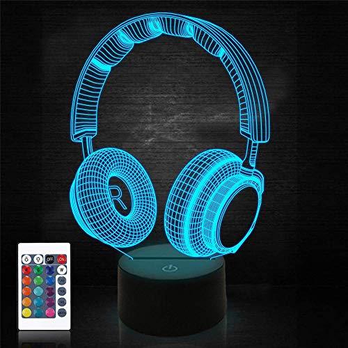Lámpara de ilusión 3D, controlador de auriculares, luz nocturna de 16 colores cambiantes de ilusión óptica con acrílico plano, base ABS, cable USB para vacaciones