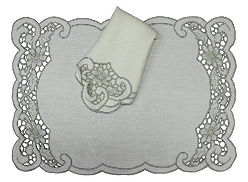 Juego de 4 manteles individuales y servilletas Bordado Madeira, en lino - Beige, Blanco