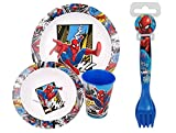 Official Spiderman 5 Piece Coloured BPA Free Micro Dining Set - Plate, Bowl, Tumbler, Spoon and Fork Dinnerware Set for Children