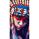HuaCan 5D Diamond Painting Kits for Adults Native American Indian Full Square Drills Photo Paint by Number Kit DIY Crystal Rhinestone Pictures Mosaic Gem Art Woman Feathers Decor 70x140cm/27.5x55in