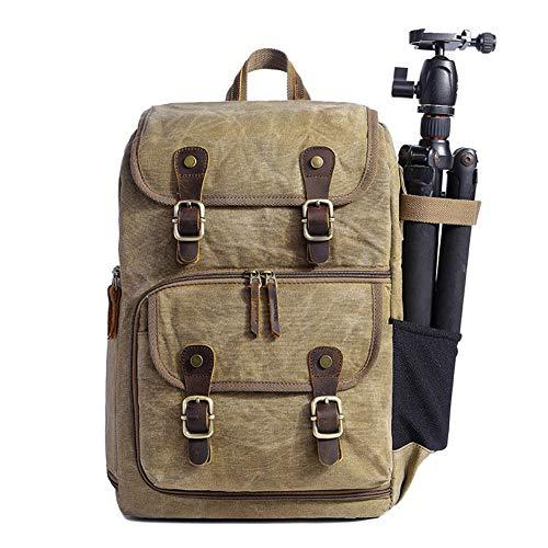 DRF Zaino porta reflex  in Tela Vintage e pelle  Custodia morbido per Fotocamera per PC portatili 15in BG19