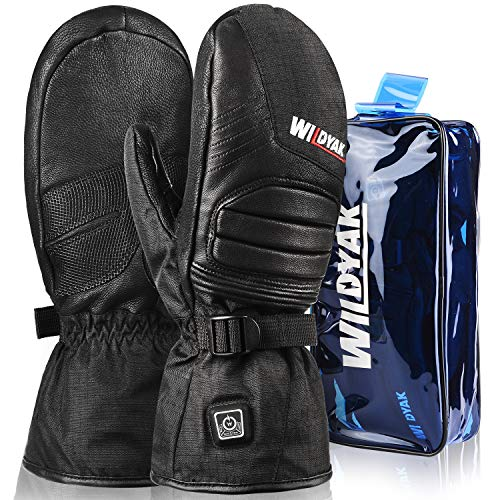 WILDYAK Heated Gloves for Men&Women, Rechargeable Electric Heated Gloves for Skiing, Heated Mittens for Raynaud's, Arthritis
