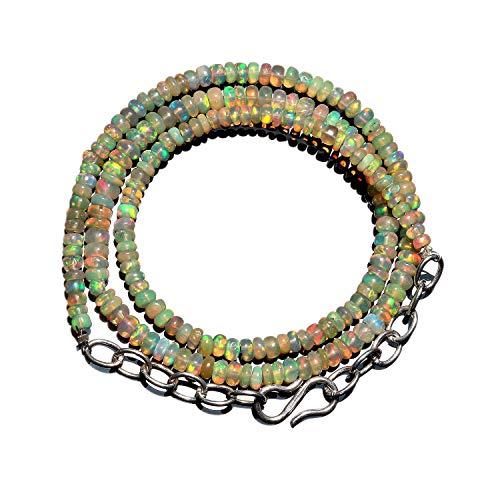 Neerupam Sammlung Natur Edelstein Ethopian Feuer Opal Rondelle Form Perlen Halskette für Frauen und Mädchen