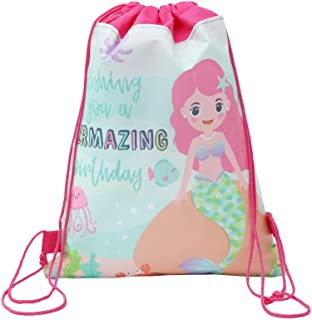 DPIST 12 Pack Mermaid Drawstring Goody Gift Pouch Bags for Kids Boys and Girls Birthday,Mermaid Party Supplies Favors