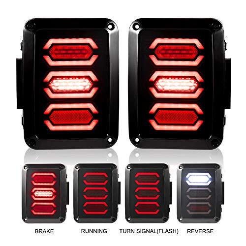 Liteway Jeep Wrangler Tail Lights LED Smoked Diamond Style for 07-18 Jeep JK Brake Reverse Turn Lamp Daytime Running Trun Signal Light